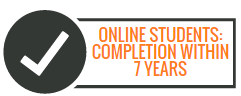 image of online students must complete within 7 years text